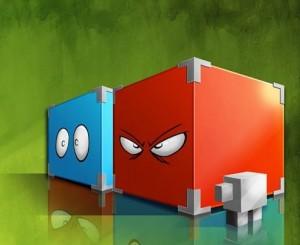 Cube rouge et cube bleu